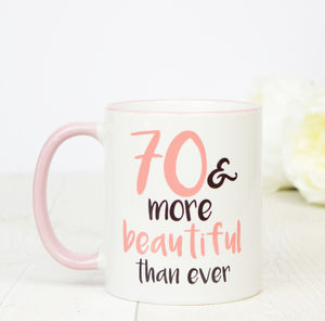 70th Birthday Gift Mug - dining room
