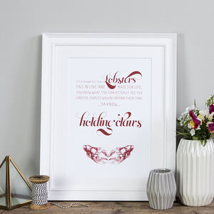 You're My Lobster Wedding And Anniversary Print - posters & prints