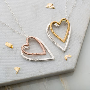 Personalised Double Heart Necklace - necklaces & pendants