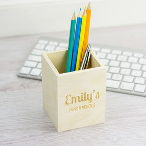 Personalised Wooden Pens And Pencils Pot