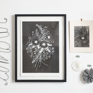 Wildflower Study Risograph Print In Black And White