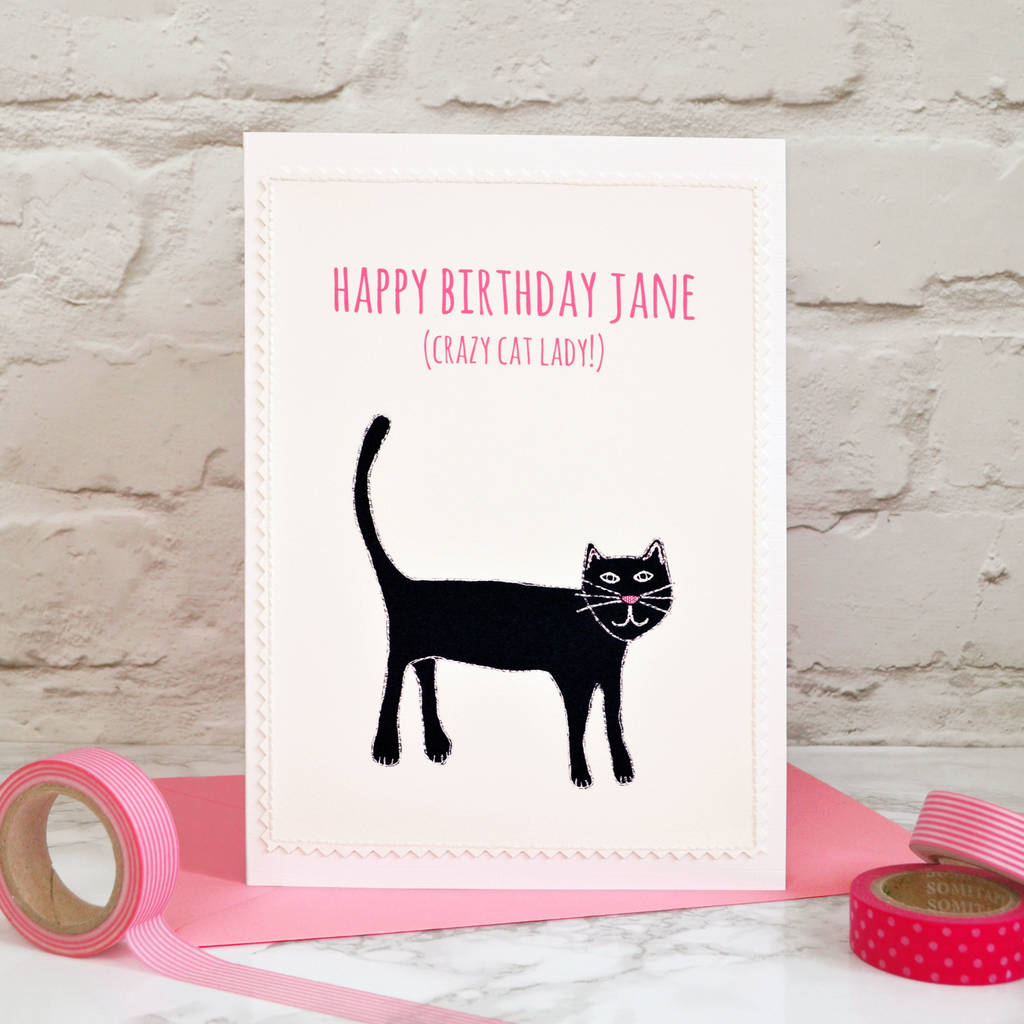 Large A5 Personalised Crazy Cat Lady Card