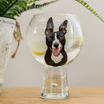 Personalised Hand Painted Pet Portrait G And T Glass