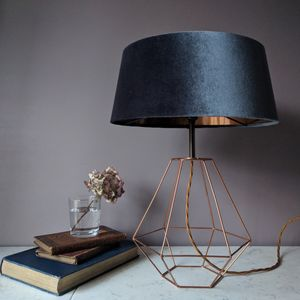 Grey Velvet Deco Lamp - lighting