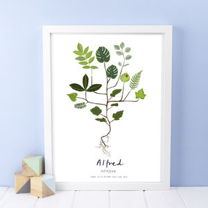 Personalised Child And Baby Plant Print