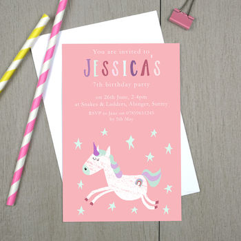 Personalised Unicorn Children's Party Invitations