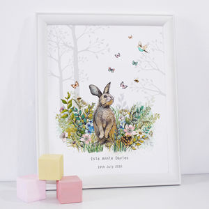 Personalised Baby Girl Bunny Nursery Print - christening gifts