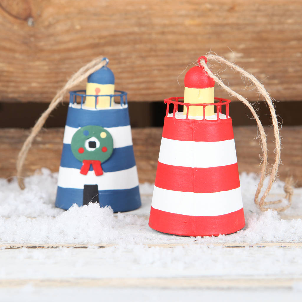 tin lighthouse christmas tree decoration blue or red by red berry ...