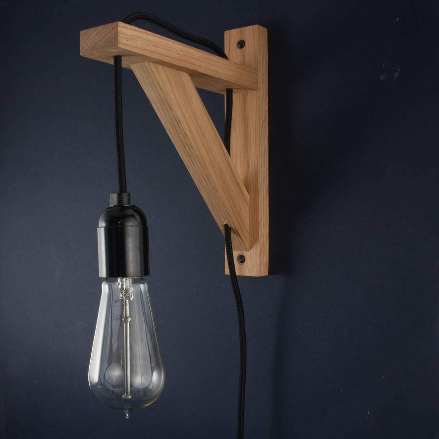 Hebden Oak Wall Bracket Beside Lamp Wall Light By Dowsing