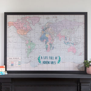A Life Full Of Adventures Travel Map - textile art