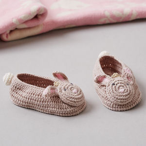 Crochet Bunny Baby Booties In Gift Box - shoes & footwear