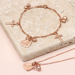 Personalised Rose Gold Bracelet And Necklace Set - children's jewellery