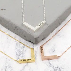 Personalised Small Chevron Necklace - personalised jewellery