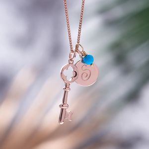 Key Necklace In Rose Gold With Birthstones - for her