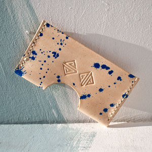 Handmade Leather Card Holder With Blue Splash - passport & travel card holders