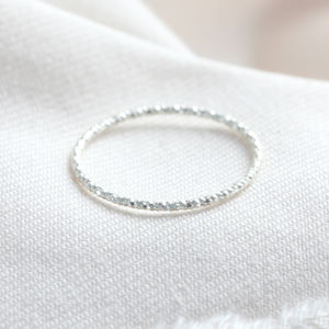 Sterling Silver Thin Sparkle Cut Ring