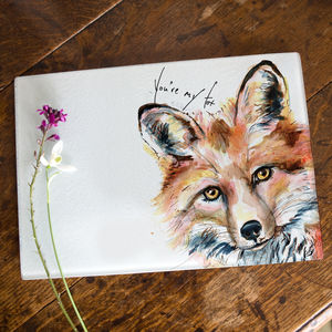 Inky Fox Glass Worktop Saver With Optional Message