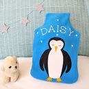 Penguin Personalised Glow In Dark Hot Water Bottle