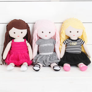 Girls Cotton Rag Dolls, Three Designs - toys & games