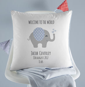 Personalised New Baby Elephant Cushion - children's room