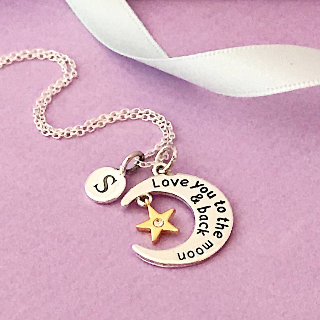 Love you to the moon and back necklace by sophie jones jewellery love you to the moon and back necklace mozeypictures Images