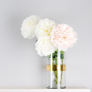 Pale Pink And Ivory Faux Peony Stem