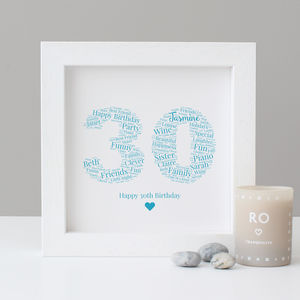 Personalised 30th Birthday Gift Print - dates & special occasions
