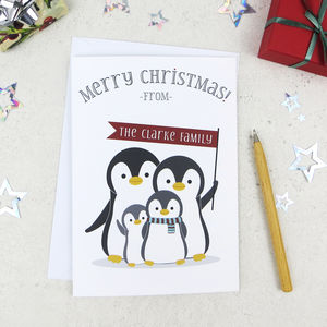 Penguin Family Of Four Personalised Christmas Card - cards