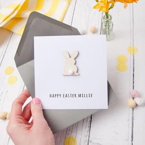 Easter Wooden Bunny With Pom Pom Tail Personalised Card