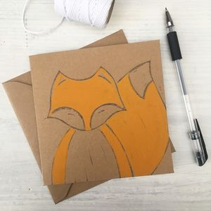 Fox Hand Painted Greeting Card