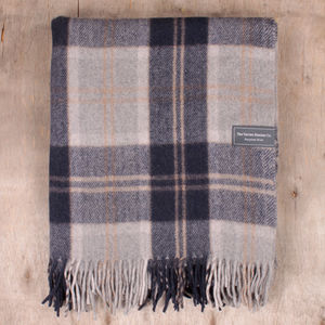 Recycled Wool Blanket In Silver Bannockbane Tartan - blankets & throws