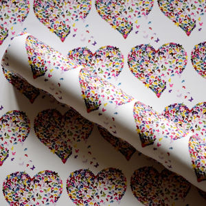 Butterfly Heart Gift Wrap - birthday labels & tags