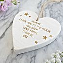Personalised To The Moon And Back Wooden Heart Keepsake