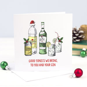 'Good Tonics' Funny Gin Christmas Card - cards & wrap