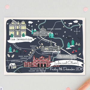 Bespoke Winter Map Wedding Invitation - reply & rsvp cards