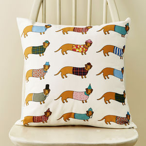 Dachshund Pattern Cushion - bedroom