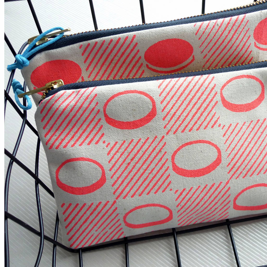 checkerboard screenprinted fabric pencil case pouch by mr.ps ...