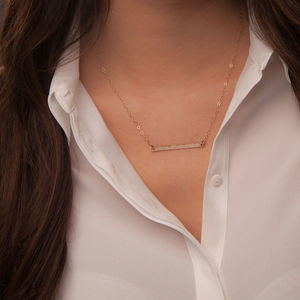 Gold Or Silver Horizontal Skinny Bar Necklace