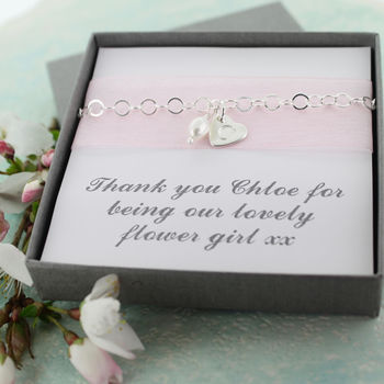 Flower Girl Heart And Pearl Bracelet
