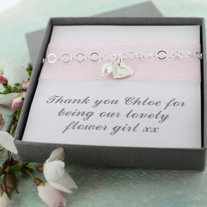 Flower Girl Heart And Pearl Bracelet - for children