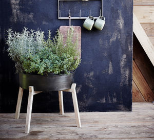 Blackened Metal Planter Or Side Table On A Stand - side tables
