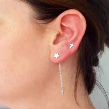 Star Stud Earrings with detachable chain drop