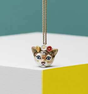 Kitten Head With Flowers Necklace - necklaces & pendants