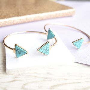 Gold And Turquoise Geometric Cuff Bracelet