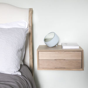 Floating Oak Double Drawer Bedside - bedroom