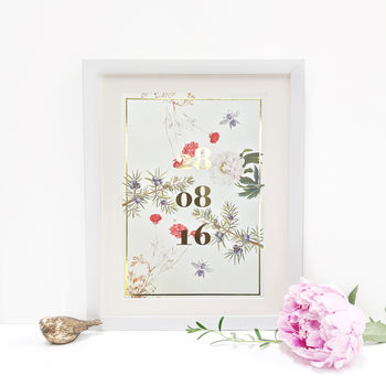 Personalised Botanical 'Special Date' Print