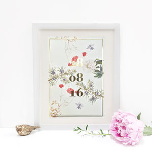 Personalised Botanical 'Special Date' Print - best wedding gifts