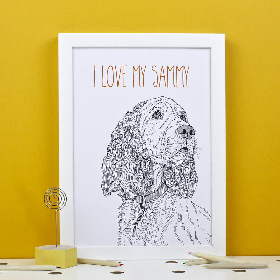 Personalised Spaniel Portrait Print