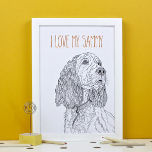 Personalised Spaniel Portrait Print - pet portraits