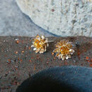 Gilded Silver Golden Citrine Daisy Earrings
